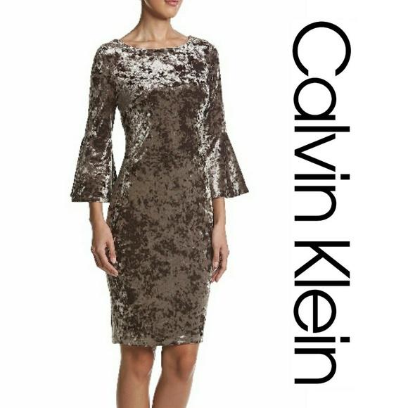 43160196f4c NWT Calvin Klein Crushed Velvet Bell Sleeve Dress